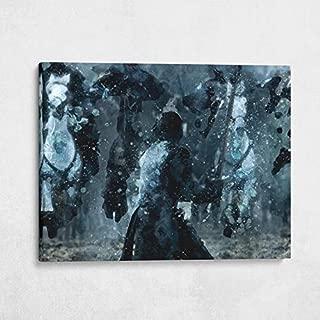 Gallery Farm | Jon Snow Battle of The Bastards Oil Style Pop Art | 1.5 Inch Thick Gallery Canvas Print, Wall Art (40x30)