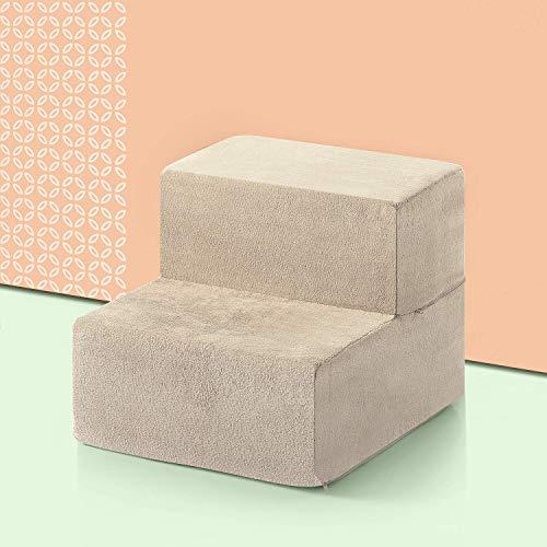ZINUS Foam 33 cm 2 de marches Escalier pour animaux de compagnie | Rampe pour chiens et chats, taille XS, Crème