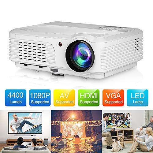 LED Video Proyector con 4400Lux, 1080P Soportado Cine en Casa Proyector con Soporte 200 Pulgadas, con teléfono inteligente, PC, tecla de TV, PS4, HDMI, USB, VGA, AV para Entretenimiento al aire libre