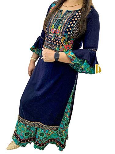 SHIRTWALAS Jaipuri Rajasthani Rayon Straight Kurti with Plazzo for Women & Girls Dress