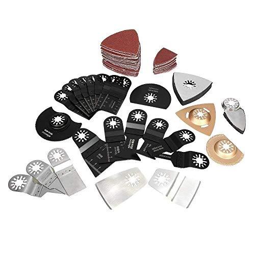 LHQ-HQ Hojas de sierra de la herramienta multi oscilante de la mezcla 100pcs hoja Kit for Fein Multimaster Rockwell Sonicrafter Worx multiherramienta accesorios