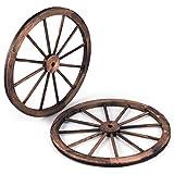 RELAX4LIFE 2er Set Wagenrad mit Eisenblech, Dekoratives Wagen Rad Antik und Vintage, Holzwagen mit Durchmesser 76 cm aus 12 Rundrohre, Wagenrad zur Dekoration für Garten & Bar & Restrauants, Braun