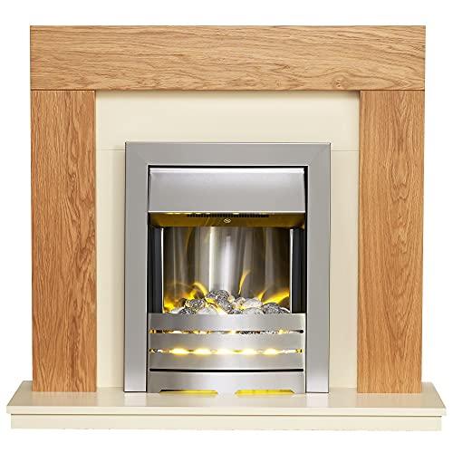 Adam Dakota Fireplace Suite in Oak with Helios Electric Fire in Brushed Steel, 39 Inch