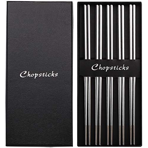 Devico Chopsticks, Metal Chopsticks, 18/10 Stainless Steel Chopstick Set, Reusable, Dishwasher Safe (5 pairs)