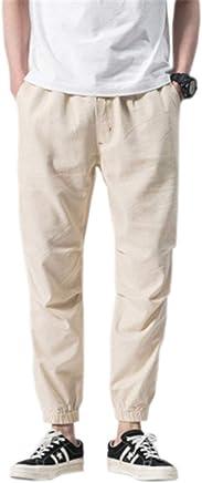 Zimaes-Men Waistband Stretchy Chinese Style Drawstring Linen Harem Pants