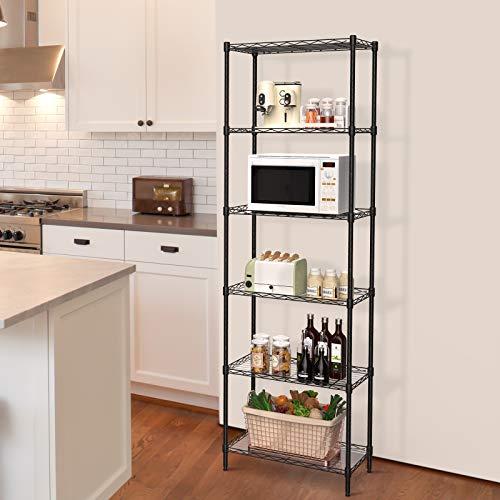 NATRKE 6-Tier Storage Shelf Wire Shelving Unit, Adjustable Heavy Duty Storage Shelves for Kitchen Organization, with Leveling Feet, Black (21.26 Lx12 Wx69 H)