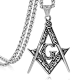 FIZIZDH Stainless Steel Freemason Masonic Pendant Necklace, Unisex, 24 inch Keel Link Chain
