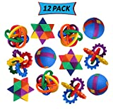 12 Plastic Puzzle Balls Brain Teaser Puzzle Toys for Party Favors, Gifts, and Prizes 4 Different Designs