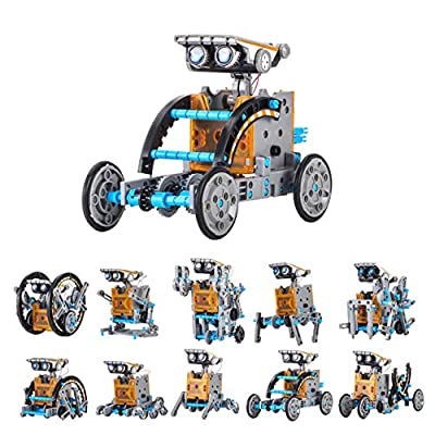 KwuLee Solar Robot Toy 12-in-1 DIY Robots Kit Educational Building Toys 190 Pieces STEM Science Experiment Kits Construction Engineering Set Powered by The Sun for Kids Children Aged 10+