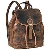 STILORD 'Allison' Mochila Mujer Casual de Cuero Pequeña Daypack Backpack Vintage Bandolera Bolso de Mano Mochila de Día para Trabajo Salir de Auténtica Piel, Color:Calais - marrón