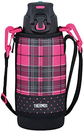 Thermos Vacuum Insulation Sports Bottle [one-Touch Open Type] 0.8L Pink Check FFZ-801F P-CH