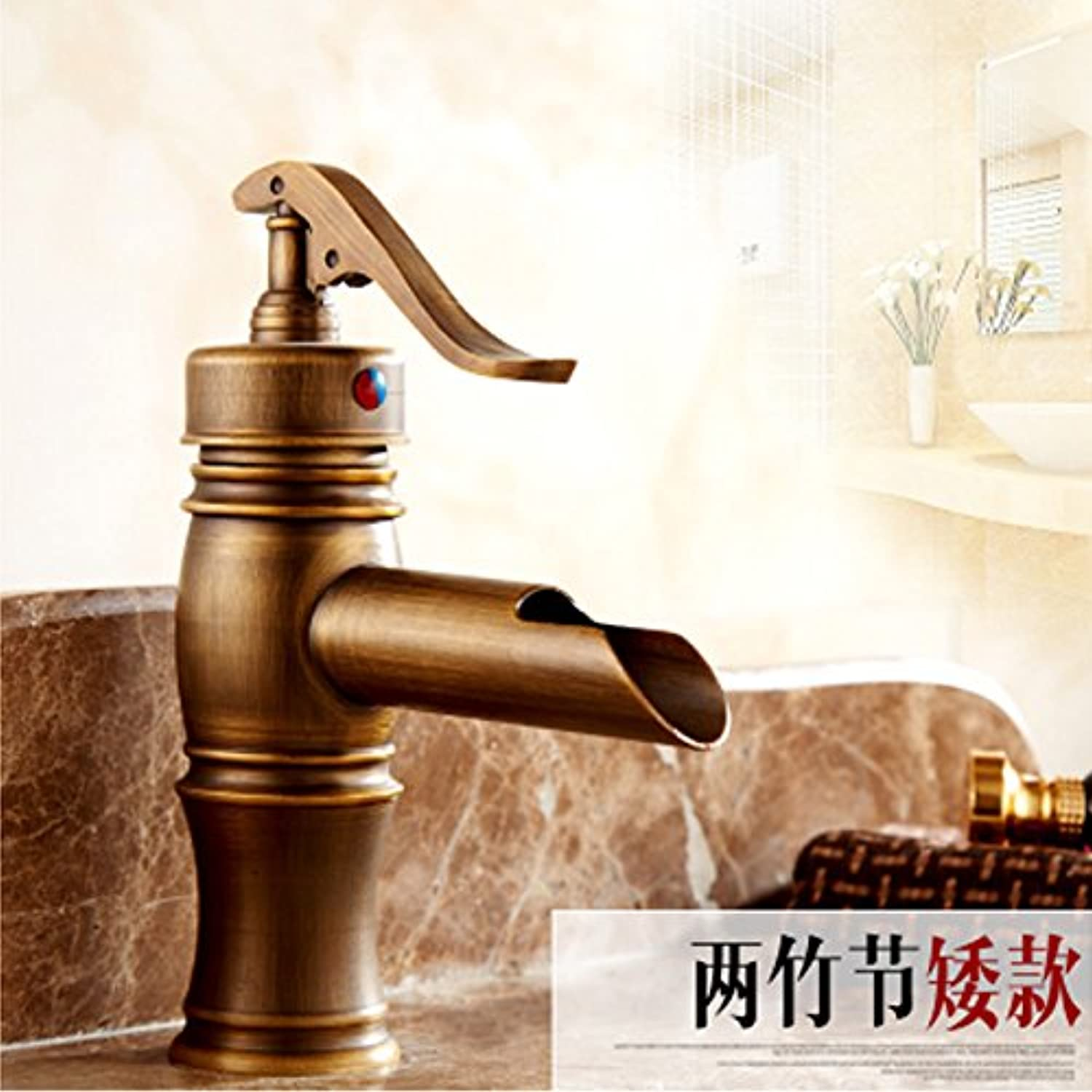 U-Enjoy European Style Antique Top Quality Brushed Brass Bathroom Hot and Cold Mixer Tap Luxury Single Hole Single Handle Art Faucet (Basin Faucet A)