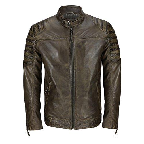 Chaqueta de motociclista para hombre, de cuero auténtico gastado, color negro, suave, ajustada, elegante