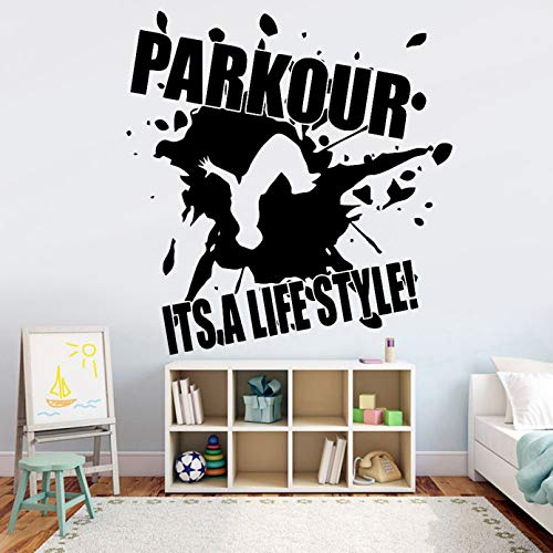SUPWALS Parkour Wall Decal Extreme Sport Vinyl Wall Sticker Gym Home Decor It's a Lifestyle Quote Quotes Boys Bedroom Art Mural