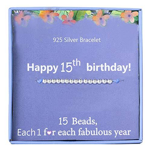 15th Girls Birthday Gifts Bracelet for Girl Sterling Silver Beads bracelet...