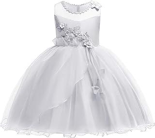 584a82a0d349b OBEEII Enfants Filles Floral Princesse Robes Tulle sans Manches pour  Pageant Communion Cérémonie Mariage Demoiselle d