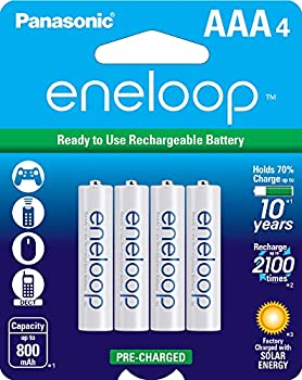 Panasonic BK-4MCCA4BA eneloop AAA 2100 Cycle Ni-MH Pre-Charged Rechargeable Batteries Pack of 4