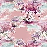 Viskose Jersey Stoff Meterware Bäume (rosa)
