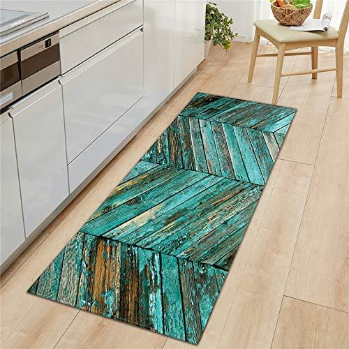 HLXX Alfombrilla Rectangular para Cocina, patrón de Grano de Madera de imitación, Felpudo Largo, Alfombrillas con Estampado Moderno, alfombras Antideslizantes para baño, A14 50x160cm