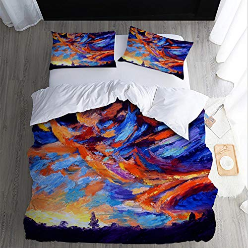 Duvet Cover Set Super King-Sky-gorgeousZipper Closure with 2 Pillow covers Bedding Set Ultra Soft Hypoallergenic Microfiber Quilt Cover Sets