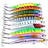 Techting 10PCS / Set 9,5 cm Colorido del Anzuelo Minnow Fish señuelo Salmón Trucha Bass Cebo Artificial Aparejos de Pesca del señuelo del Gancho
