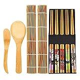 Juego De Preparación De Sushi De Bambú Sushi Cortina Rollo Sushi Prep Kit De Cocina Herramientas De Cocina Cuchara Palillos Cuchilla 13Pcs / Set
