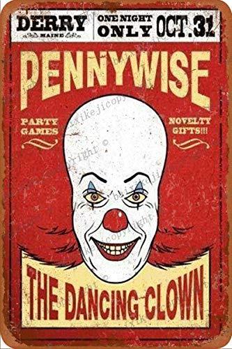Cimily Classic Horror Film Movie Stephen King It Zinn Retro Zeichen Vintage Poster Plakette Wanddekoration für Bar Cafe Garten Schlafzimmer Büro Hotel 20X30 cm