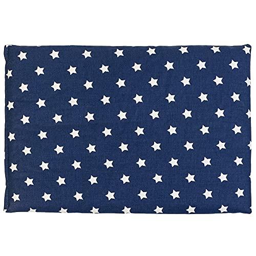 Traubenkernkissen 30 x 20 cm, Sterne-blau - Als Wärmekissen & Kältekissen - Körnerkissen für Mikrowelle und Backofen (30x20cm)