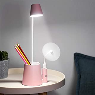 Pen Holder Table Lamp,Rechargeable Led Desk Light for Kids Study with Phone Holder USB Charging Port, Eye Caring Reading B...