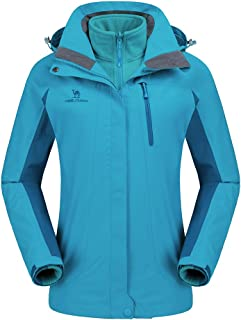 CAMEL CROWN Women`s Waterproof Ski Jacket 3-in-1 Winter Coat Windbreaker Fleece Inner for Snow Rain Hiking Outdoor