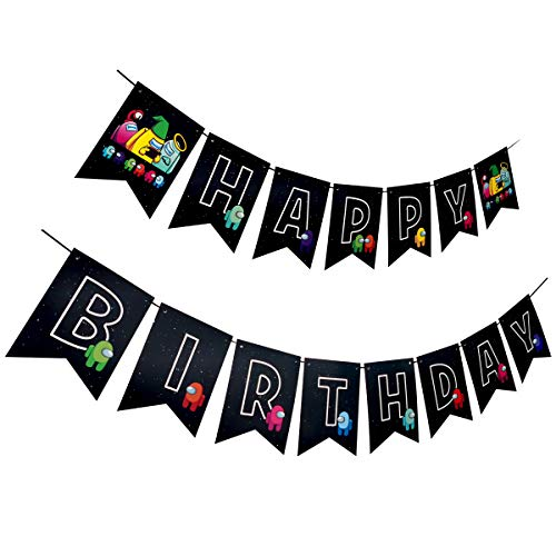 Among Us Birthday Party Supplies,Among Us Happy Birthday Banner for Boys( Pre-assembled )
