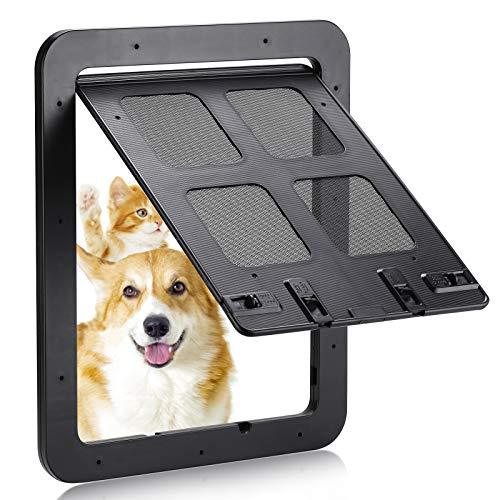 Smilelove Trampilla para Perros, trampilla para Gatos, Puerta mosquitera (tamaño Exterior: 30 x 35 cm), trampilla para Mascotas con Bloqueo de 4 direcciones, mosquitera para Perros pequeños (Negro L)
