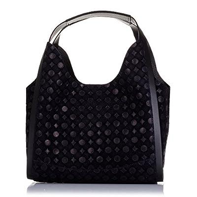 FIRENZE ARTEGIANI.Bolso shopping bag de mujer piel auténtica.Bolso mujer cuero genuino grabado geométrico circulos.Asa diseño exclusivo. MADE IN ITALY. VERA PELLE ITALIANA. 33x24x15 cm
