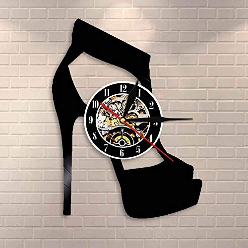 Suhang Klassieke zwarte wandklok, hoge haken, wand, kunst schoenen, winkel, wandklok, cadeau Without Led