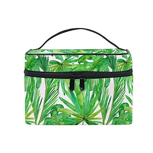 HaJie - Bolsa de maquillaje de gran capacidad, organizador de verano con hojas tropicales de palma de viaje, portátil, neceser, bolsa de almacenamiento, bolsa de lavado para mujeres y niñas