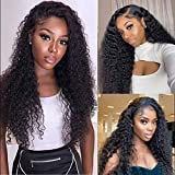 Glueless 4x4 Deep Curly Lace Front Wigs Brazilian Pineapple Human Hair 10A Grade Virgin Hair 150% Density Pre Plucked Bleached Knots Closure Wig Natural Hairline Wet and Wavy Wig for Black Women