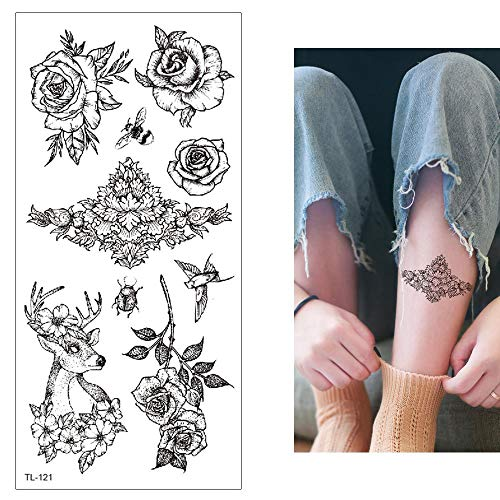 Große Temporäre Tattoo Aufkleber Haut Wasserfest Männer Damen Kinder Body Art - 7 Blätter Rose Löwenzahn Musikinstrument Gitarre Tattoo Aufkleber Gefälschte Für Arme Schultern Rücken Beine Tattoos Fas