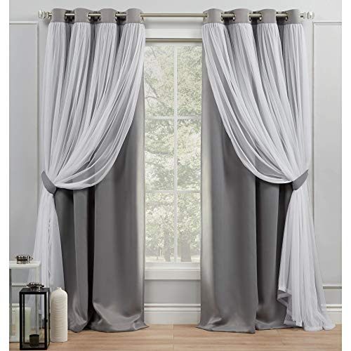 Exclusive Home Curtains Catarina Layered Solid Blackout and Sheer Grommet Top Curtain Panel Pair, 52x96, Soft Grey