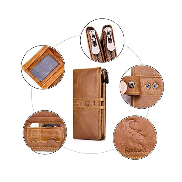 ROULENS Wallet for Women Genuine Leather Card Holder Phone Checkbook Organizer Zipper Coin Purse 3