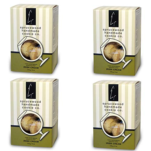 4 Pack Sprucewood Handmade Cookie Co. Typsy Shortbread Cookie Biscuits - Irish Cream Shortbread - Perfect for Breakfast, Teatime & Special Events|170g/6 oz. - Classic Cookie Box