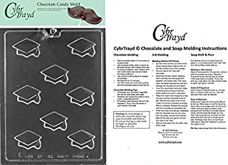 CybrTrayd M243 Bite Size Graduation Caps Chocolate Candy Mold, Clear