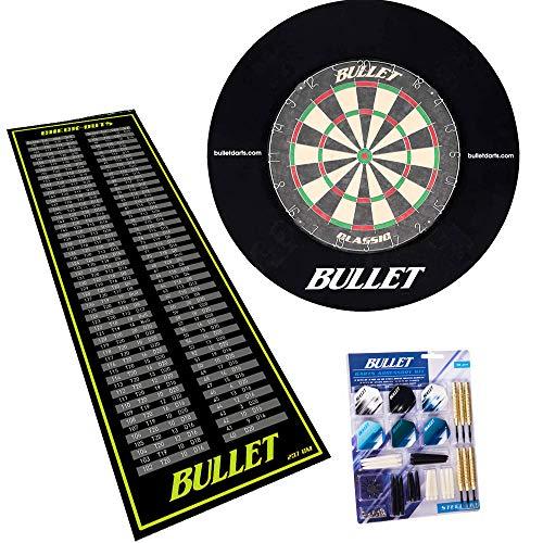 BULLET-Darts Großes Dart Turnier Set, 90 teiligem Steeldarts-Set, Surround Ring und einem professionellem Checkout Teppich - Schwarz/Grün