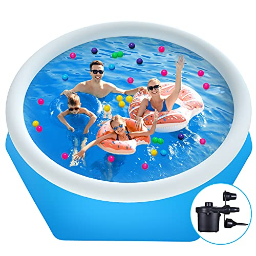 Family Inflatable Swimming Pool,8ft(Diameter) X 26in(Height) Fast Inflatable Swimming Pool,Children and Adult Swimming Pools,Suitable for Babies Over 3 Years Old, Outdoor,Garden,Summer Water Party