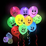 LED Party Light Up Balloons 30 Pack with Mixed Colors Flashing Light for Kids Christmas Birthday Evening Festival Decorations ( 30M Ribbons)