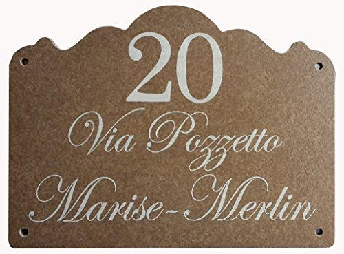 Mosaici Guizzo Numero civico con Fori in Ceramica incisa_Colore Marrone Scuro