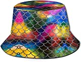 Tie Dye Fish Scales Pattern Unisex Casual Bucket Hat Fisherman Cap Sun Hat
