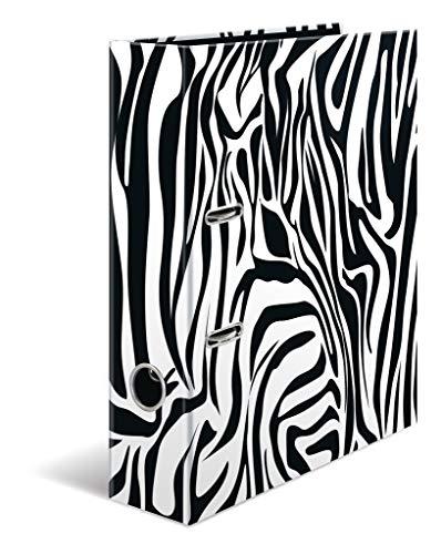 HERMA 19781 Motiv-Ordner DIN A4 Animal Print Zebra, 7 cm breit aus stabilem Karton im tierischen Design, Ringordner, Aktenordner, Briefordner, 1 Ordner