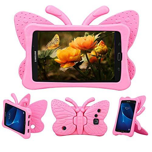 Tading Galaxy Tab A 7.0 Hülle für Kinder, Superleicht Eva Stoßfest Kinder Schutzhülle mit Standfunktion für Samsung Galaxy Tab A 7.0 Zoll Tablette SM-T280/T285, Süß Schmetterling Design - Pink
