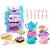 iBaseToy Kids Tea Set 35 Pieces - Pretend Play Tea Party Set Toys for Toddlers Boys Girls - Includes Full Tea Set with Pastries, Cake Stand and More, Food Safe Material and Dishwasher Safe