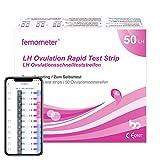 Femometer 50 Pruebas de Ovulación 25 mIU/ml y, Resultados Precisos con la App (iOS & Android) Reconocimiento Automático de los Resultados de las Pruebas